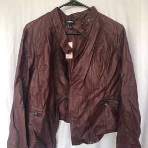 Faux Maroon leather Jacket plus sized with tag